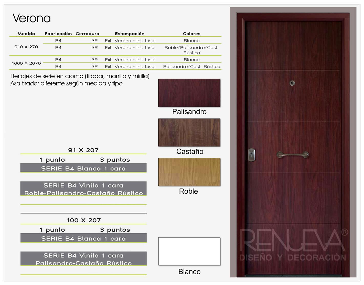 Puerta de entrada de acero para exteriores modelo verona for Modelo de puertas de madera exteriores