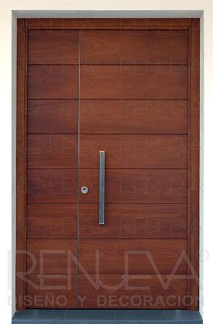 Puertas de entrada madera de iroko macizas y blindadas for Maderas para puertas de exterior